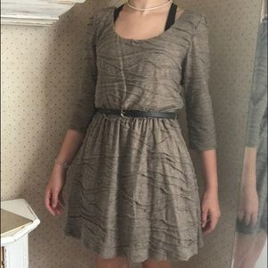 tan dress with belt